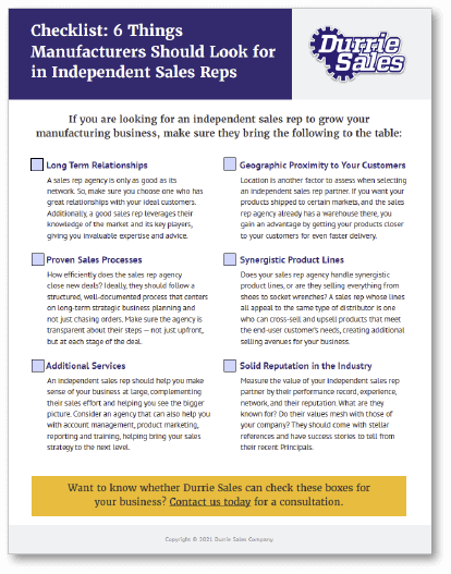 Download the checklist: 6 Things Manufacturers Should Look for in Independent Sales Reps